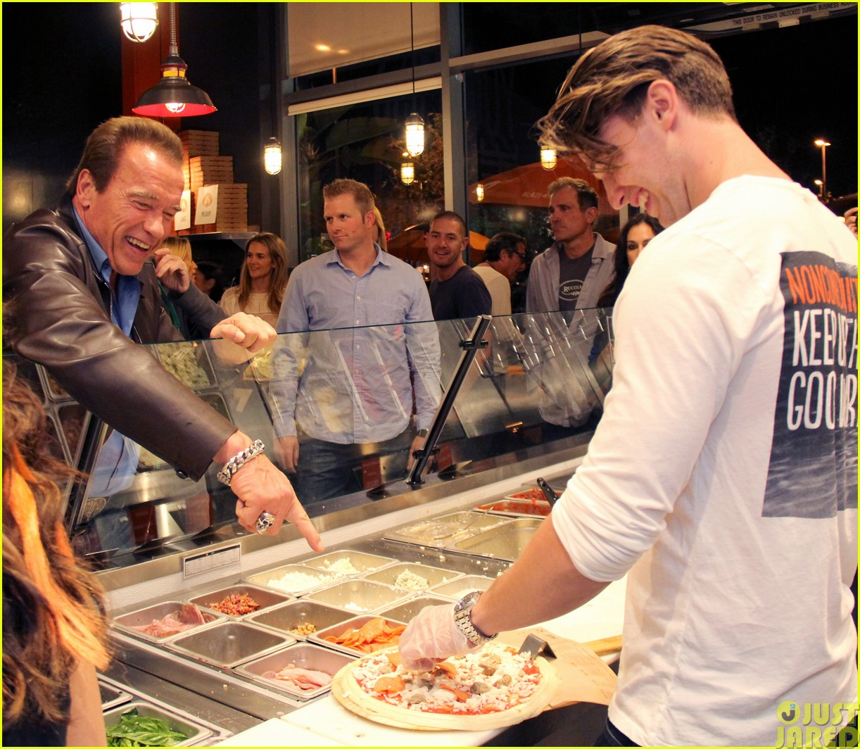 patrick schwarzenegger celebrates the opening of blaze pizza with family and friends303121558