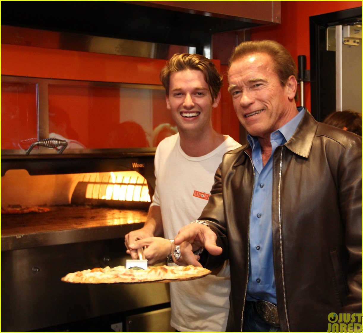 patrick schwarzenegger celebrates the opening of blaze pizza with family and friends323121560