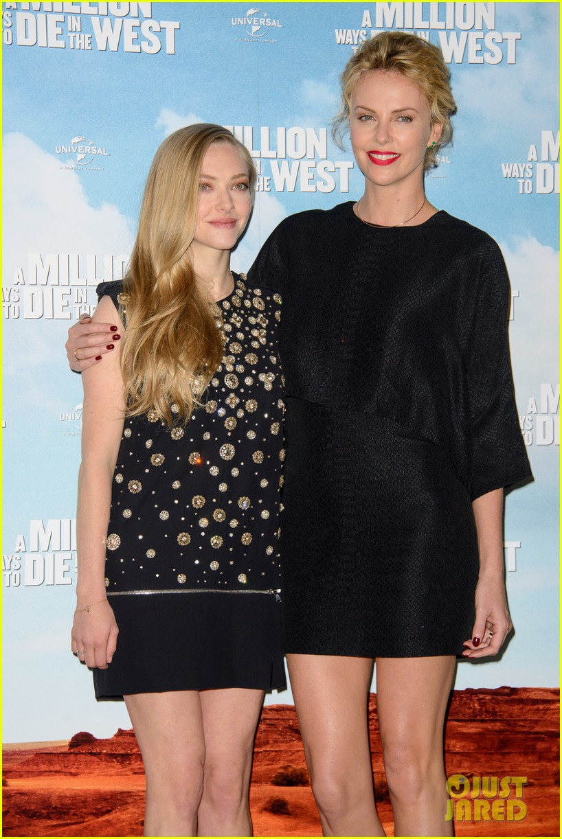 charlize theron amanda seyfried display long legs a million ways photo call 18