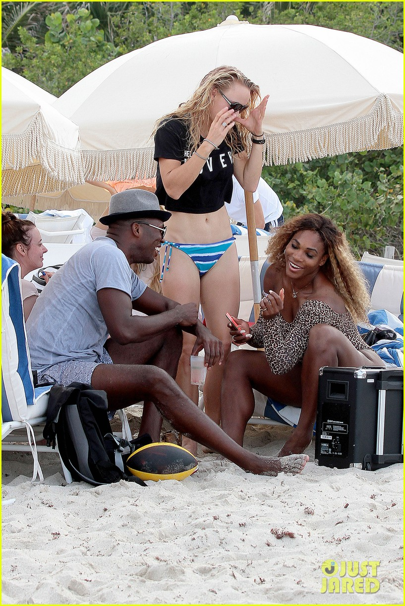 serena williams bootylicious beach caroline wozniacki 313125540