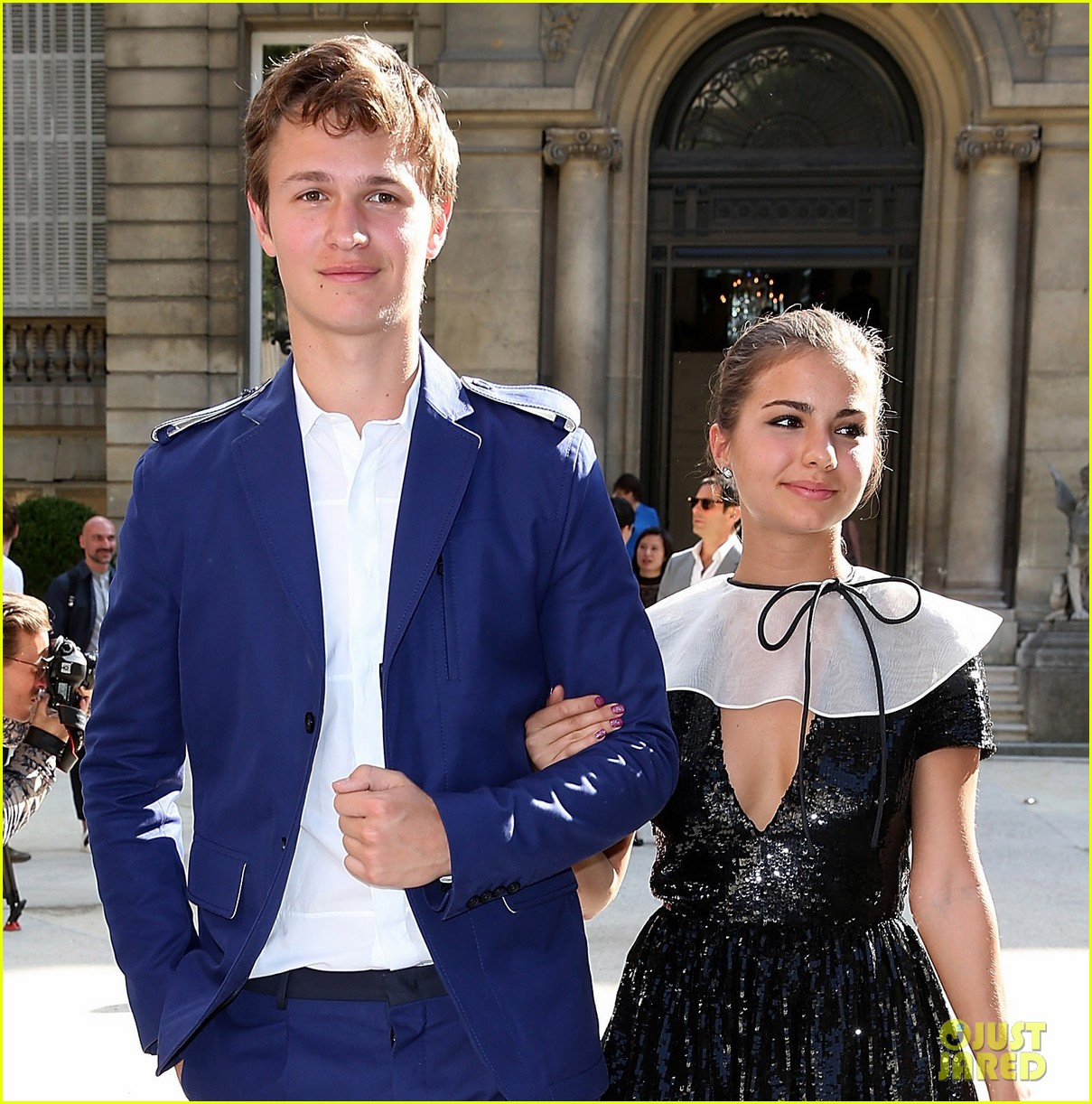 ansel elgort paris fashion week girlfriend violetta komyshan 033143390