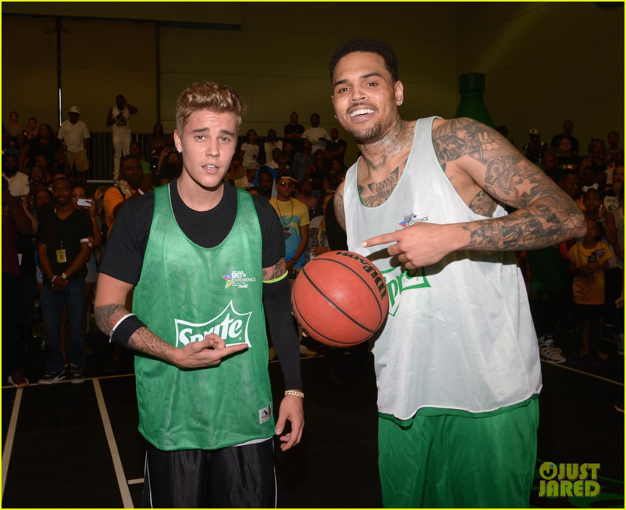 justin bieber chris brown bet celeb basketball game 27