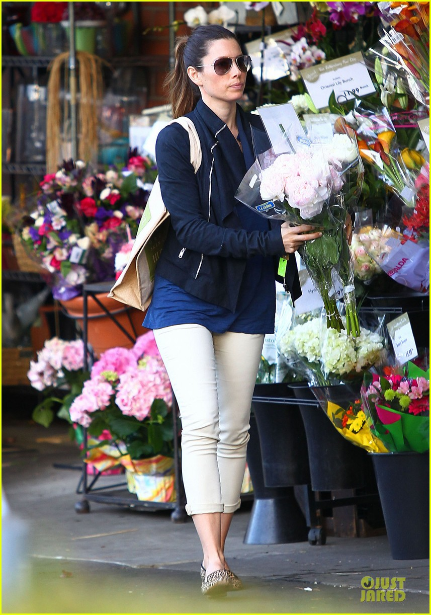 jessica biel looks happy to smell like flowers 073135806