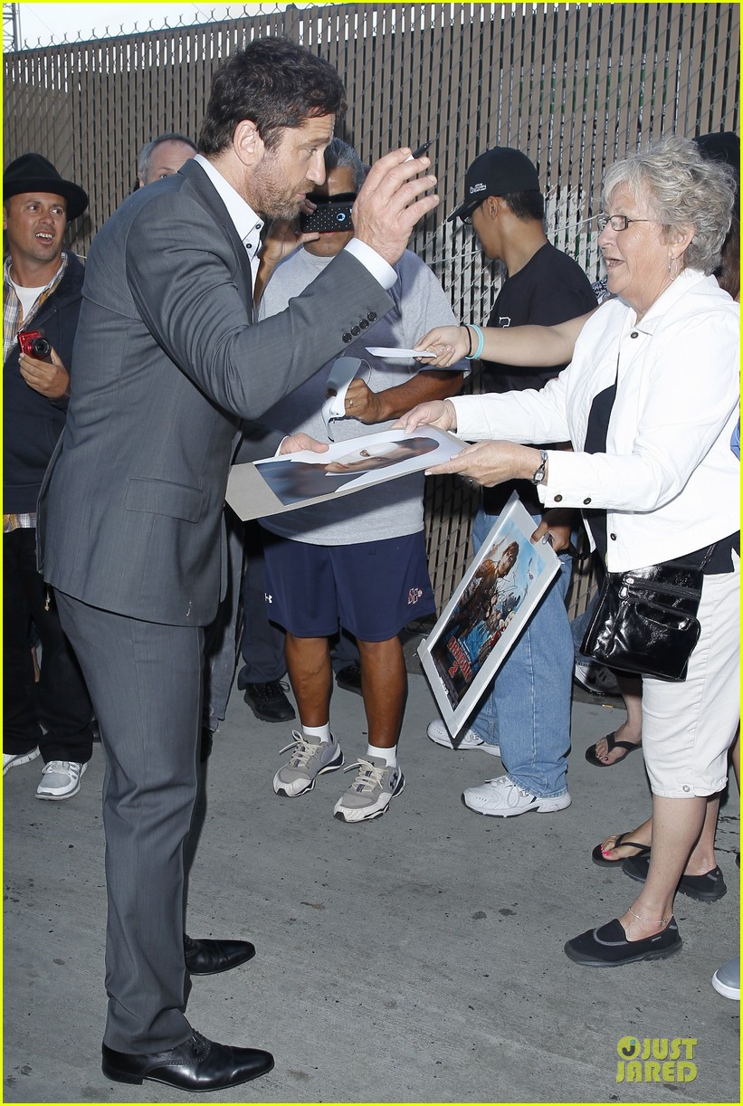 gerard butler meagan good picture at jimmy kimmel live 03
