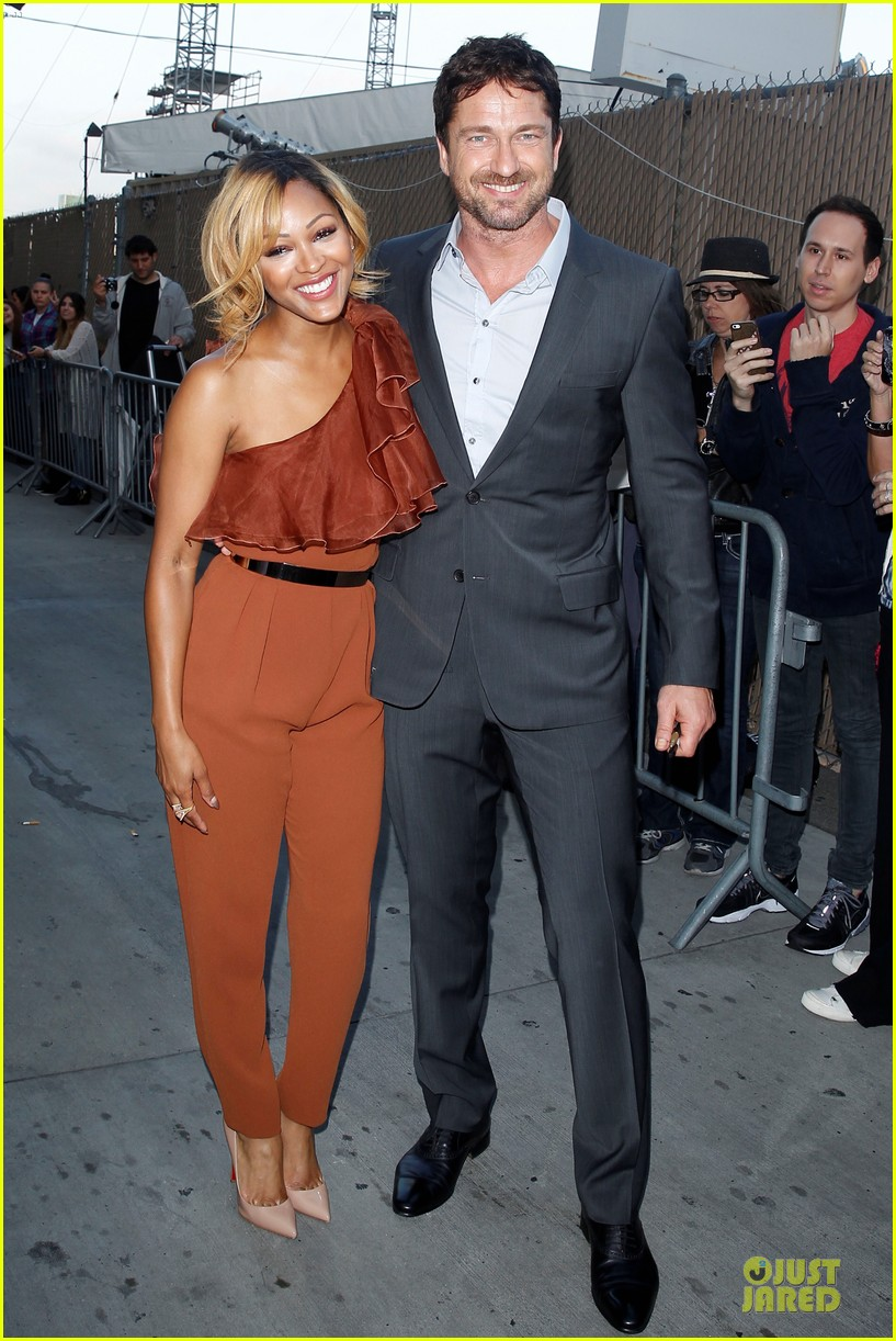 gerard butler meagan good picture at jimmy kimmel live 09