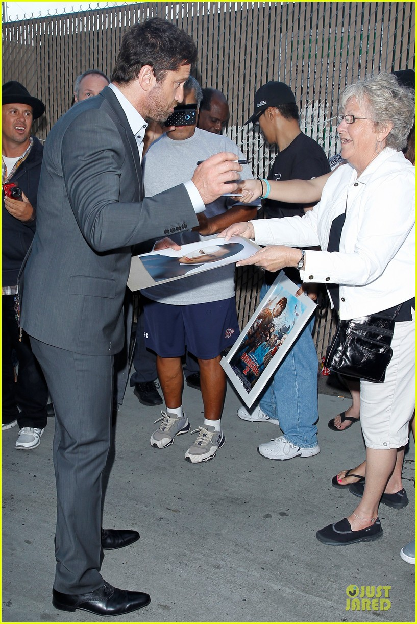 gerard butler meagan good picture at jimmy kimmel live 103132830