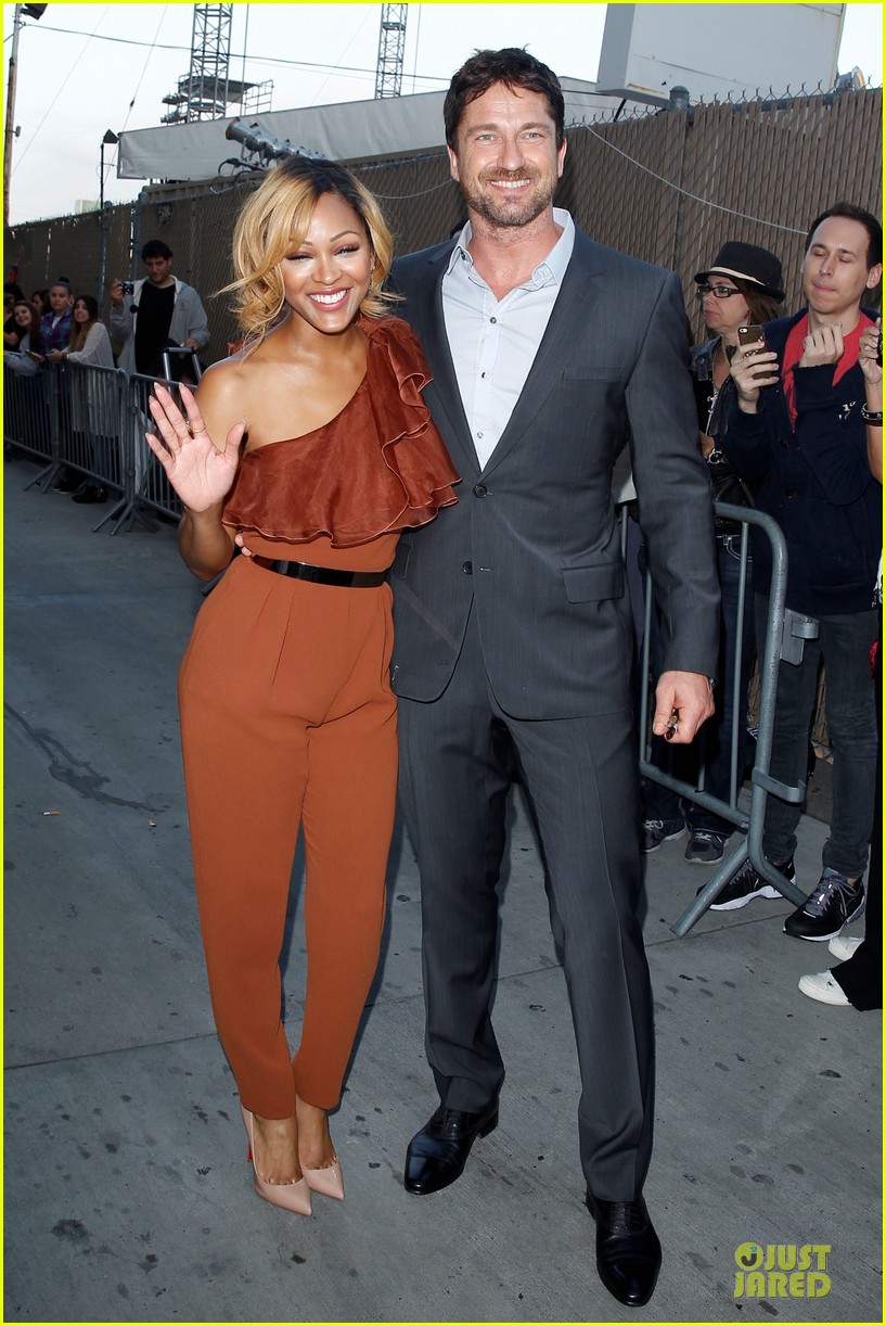 gerard butler meagan good picture at jimmy kimmel live 113132831