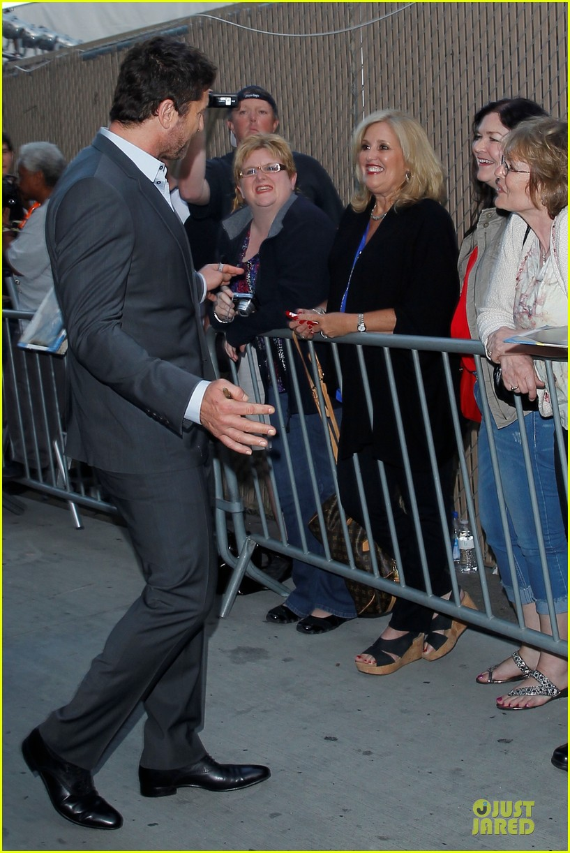 gerard butler meagan good picture at jimmy kimmel live 123132832