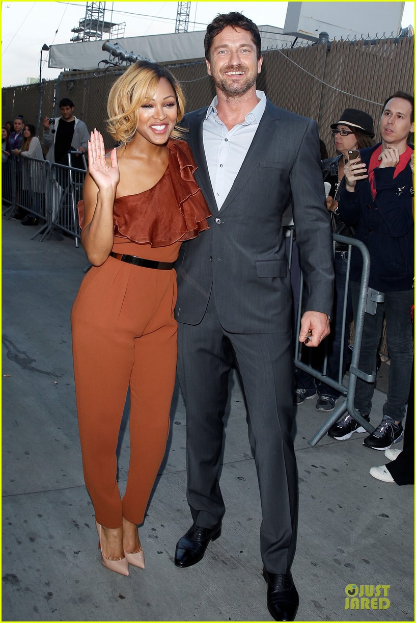 gerard butler meagan good picture at jimmy kimmel live 133132833