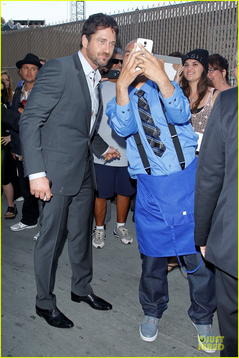 gerard butler meagan good picture at jimmy kimmel live 143132834