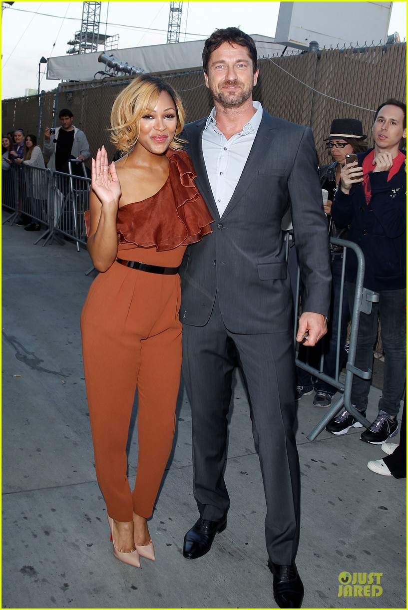 gerard butler meagan good picture at jimmy kimmel live 153132835