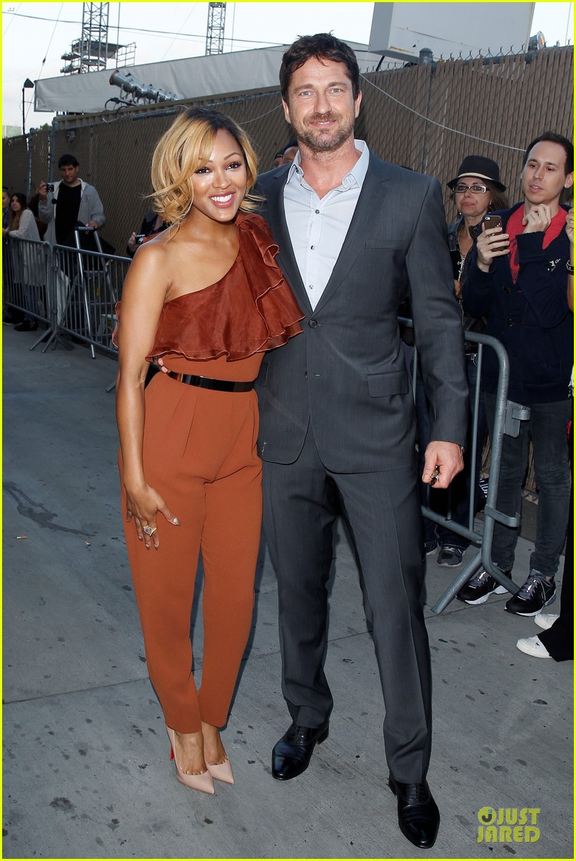 gerard butler meagan good picture at jimmy kimmel live 163132836