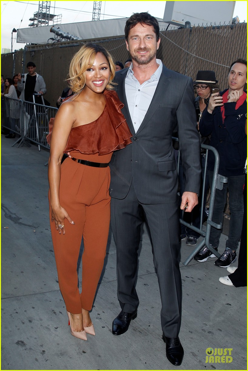gerard butler meagan good picture at jimmy kimmel live 173132837