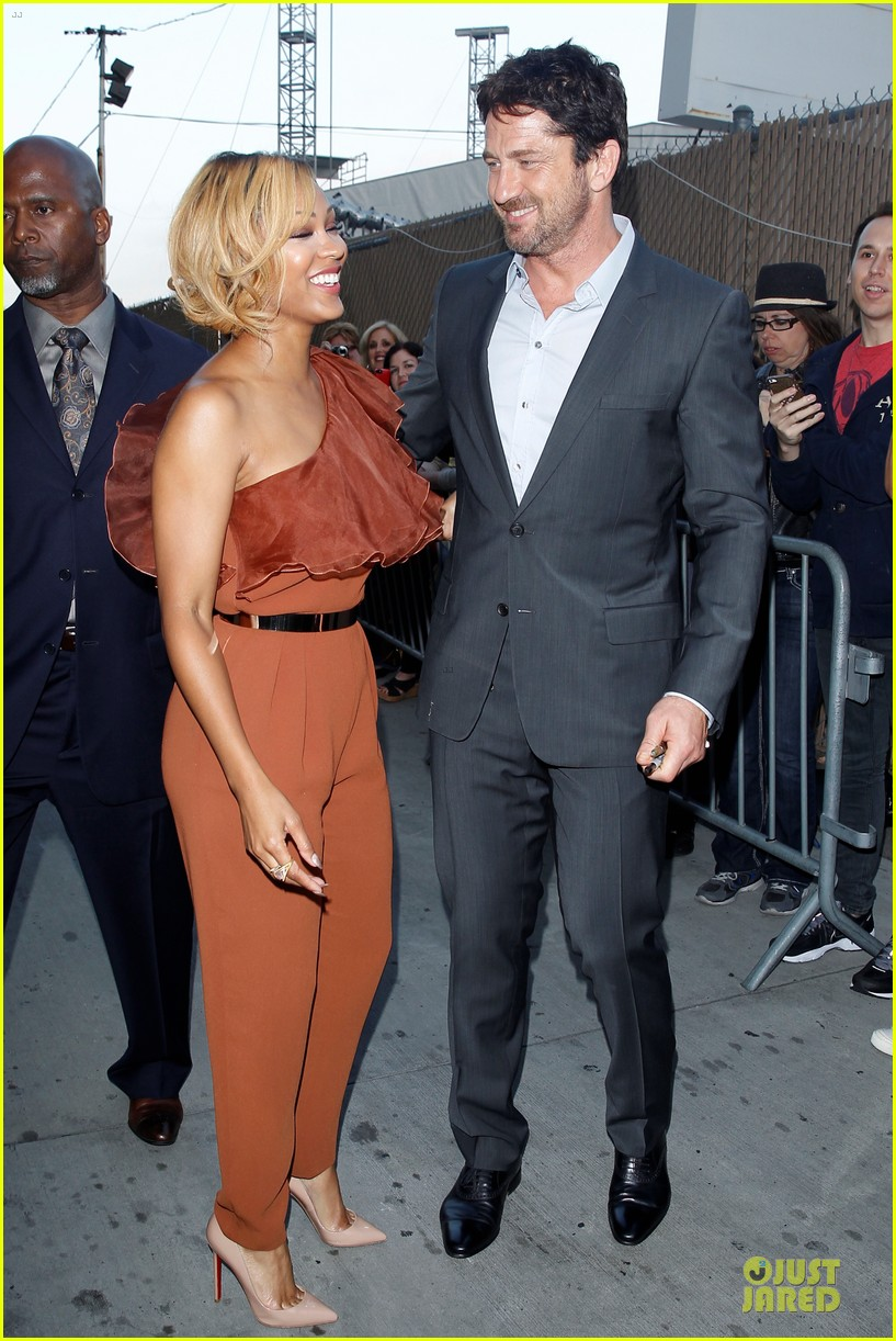 gerard butler meagan good picture at jimmy kimmel live 193132839