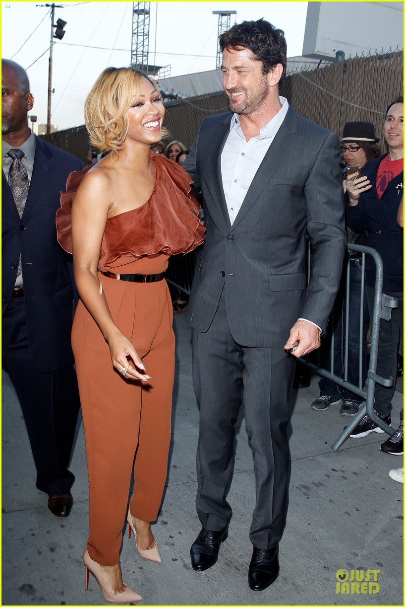 gerard butler meagan good picture at jimmy kimmel live 203132840
