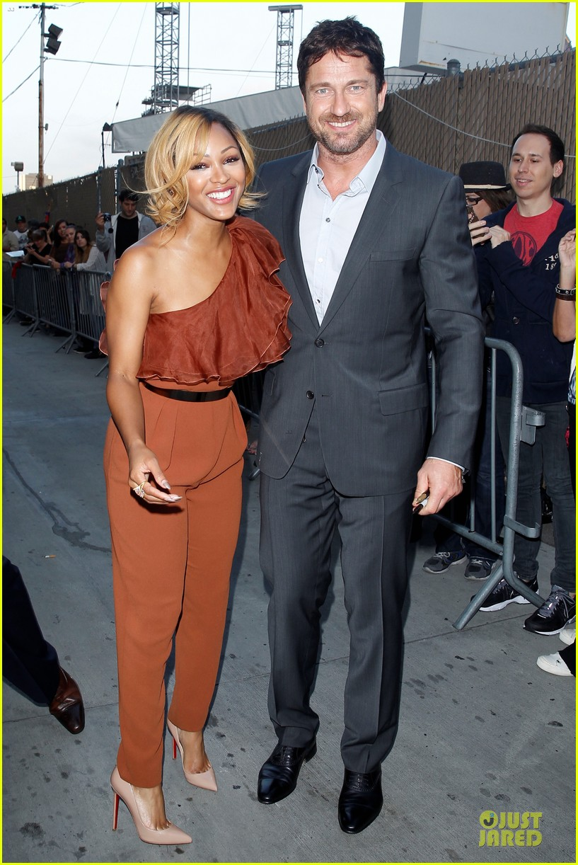 gerard butler meagan good picture at jimmy kimmel live 213132841