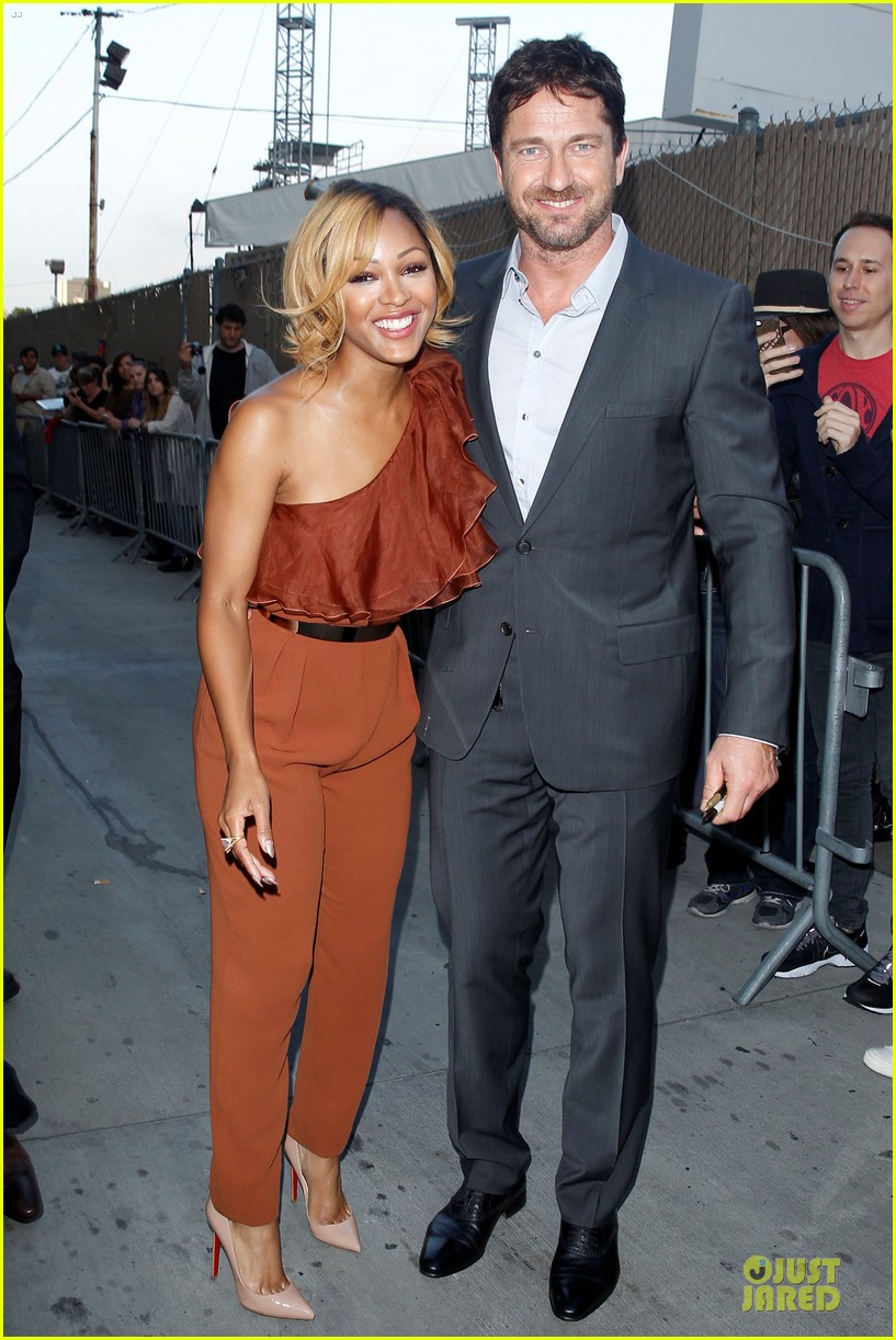 gerard butler meagan good picture at jimmy kimmel live 223132842