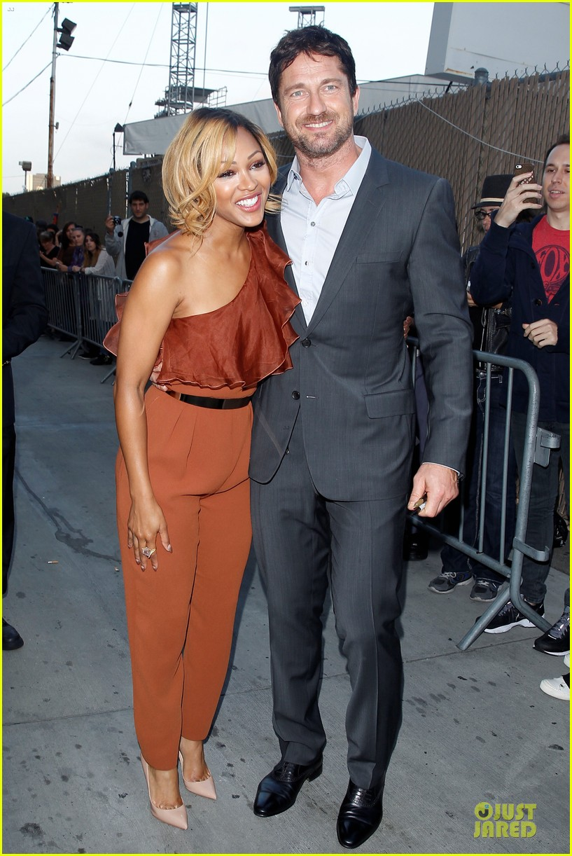 gerard butler meagan good picture at jimmy kimmel live 23