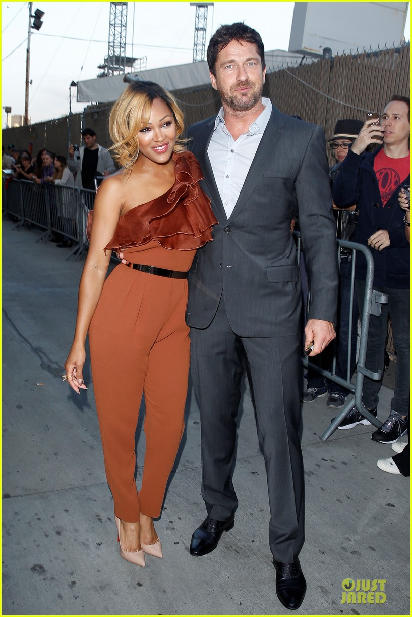 gerard butler meagan good picture at jimmy kimmel live 24
