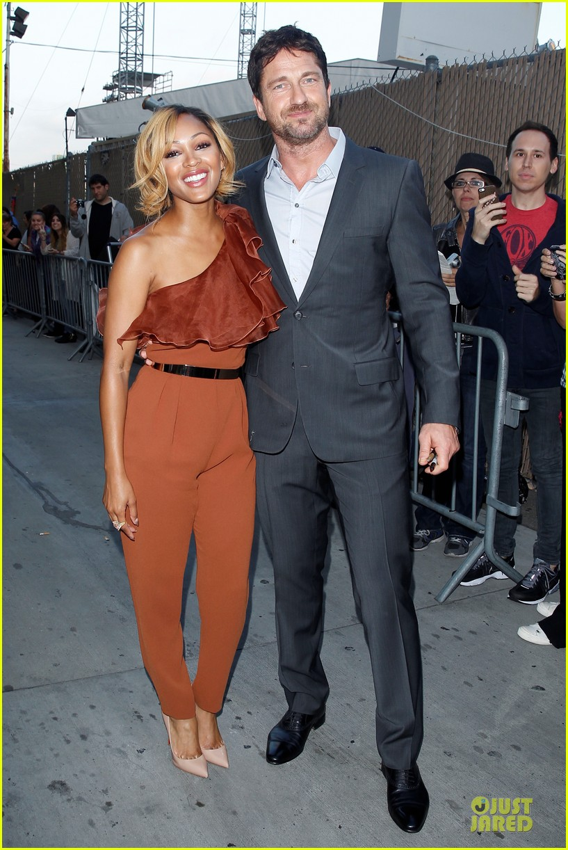 gerard butler meagan good picture at jimmy kimmel live 253132845