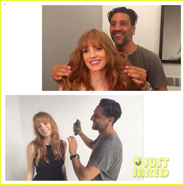 jessica chastain has bangs now new hairstyle 023130654