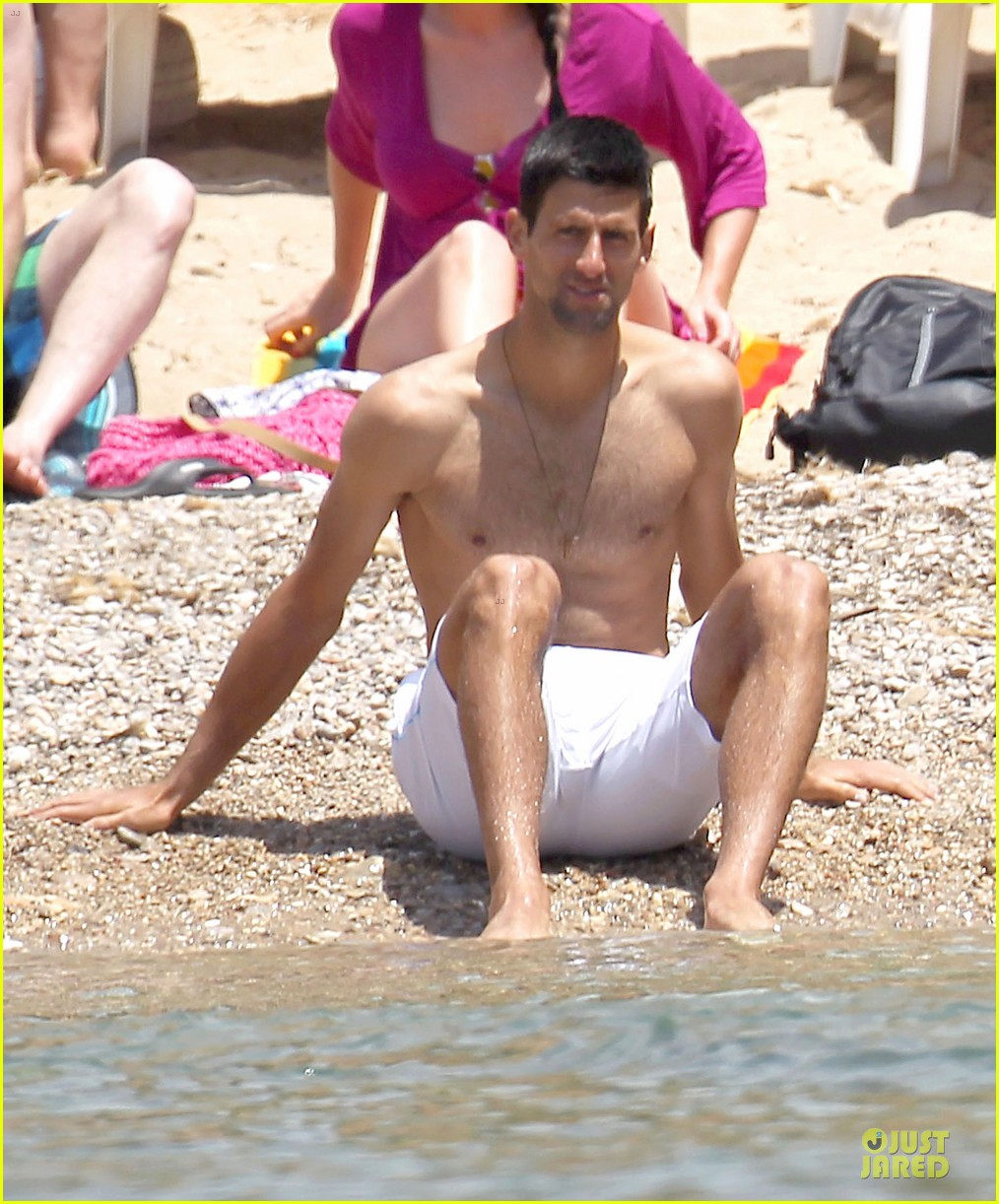 novak djokovic happy shirtless bachelor party vacation 023133672