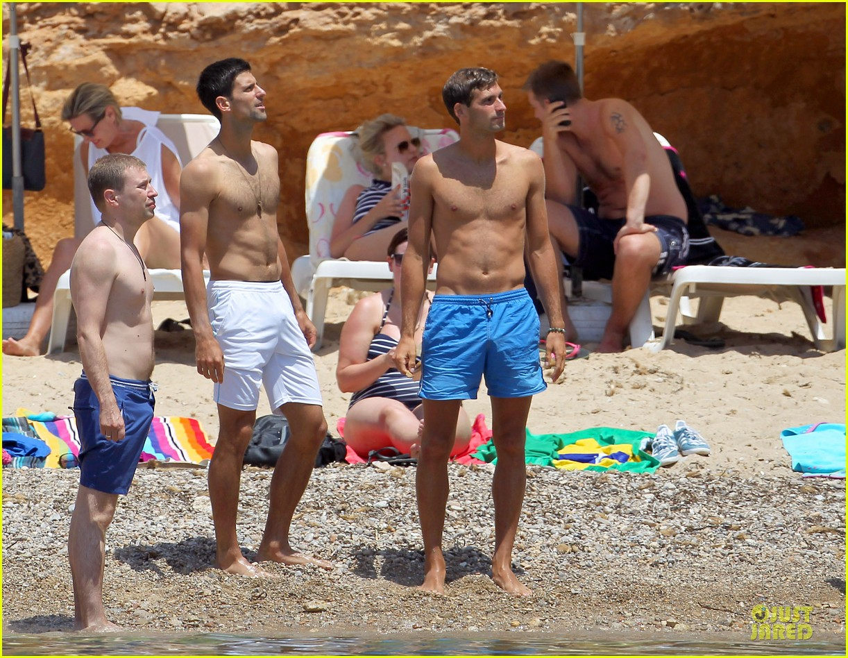 novak djokovic happy shirtless bachelor party vacation 033133673