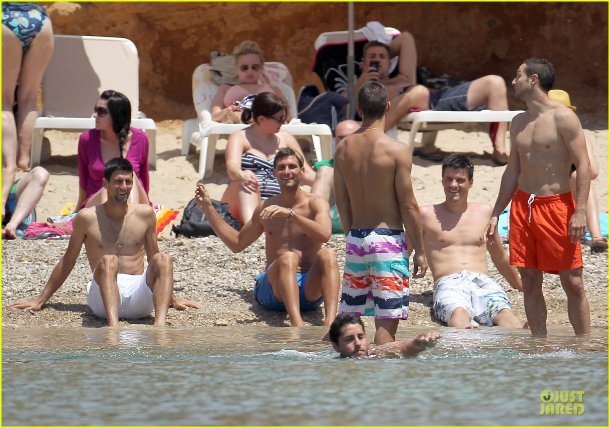 novak djokovic happy shirtless bachelor party vacation 073133677
