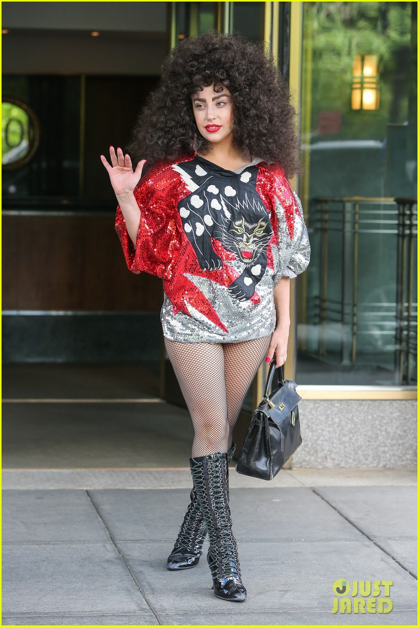lady gaga debuts huge curly teased hairdo thick eyebrows in nyc 013129929