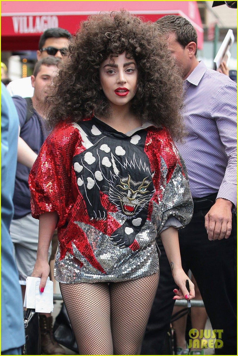 lady gaga debuts huge curly teased hairdo thick eyebrows in nyc 023129930