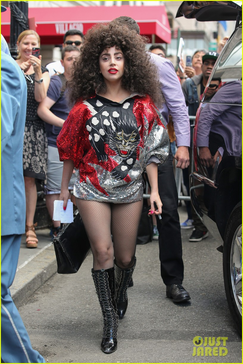 lady gaga debuts huge curly teased hairdo thick eyebrows in nyc 053129933