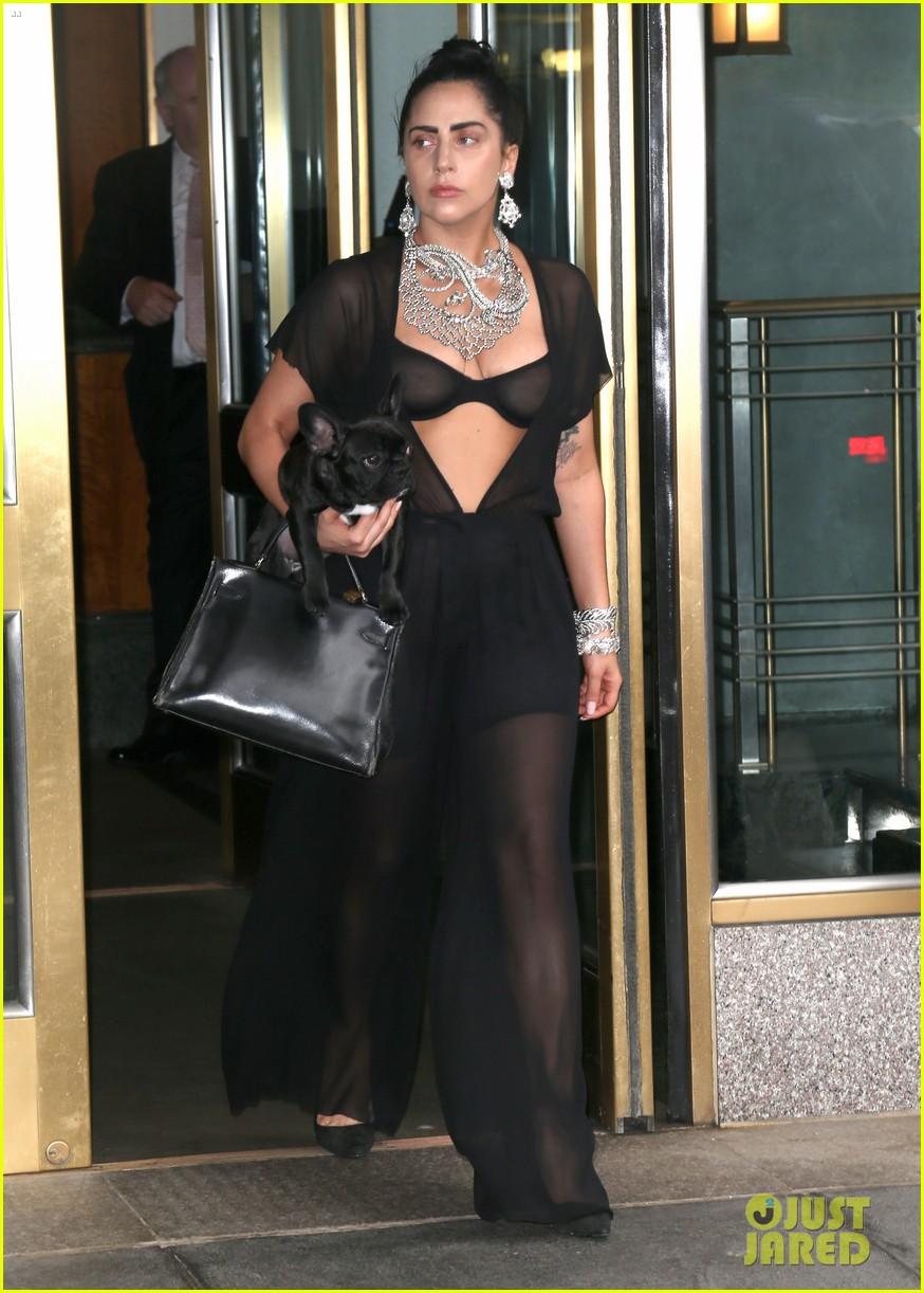 lady gaga goes wigless bares nipples sheer bra 013134244