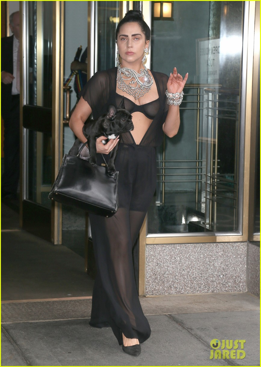 lady gaga goes wigless bares nipples sheer bra 033134246