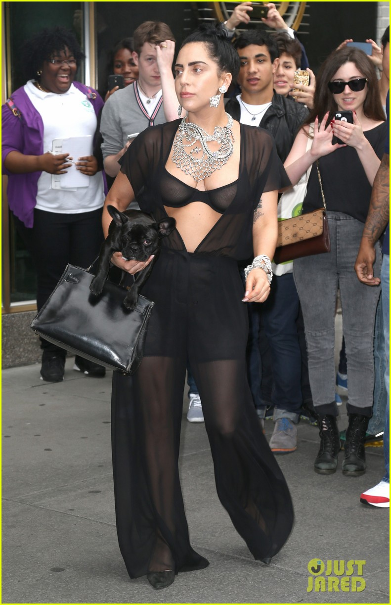 lady gaga goes wigless bares nipples sheer bra 113134254