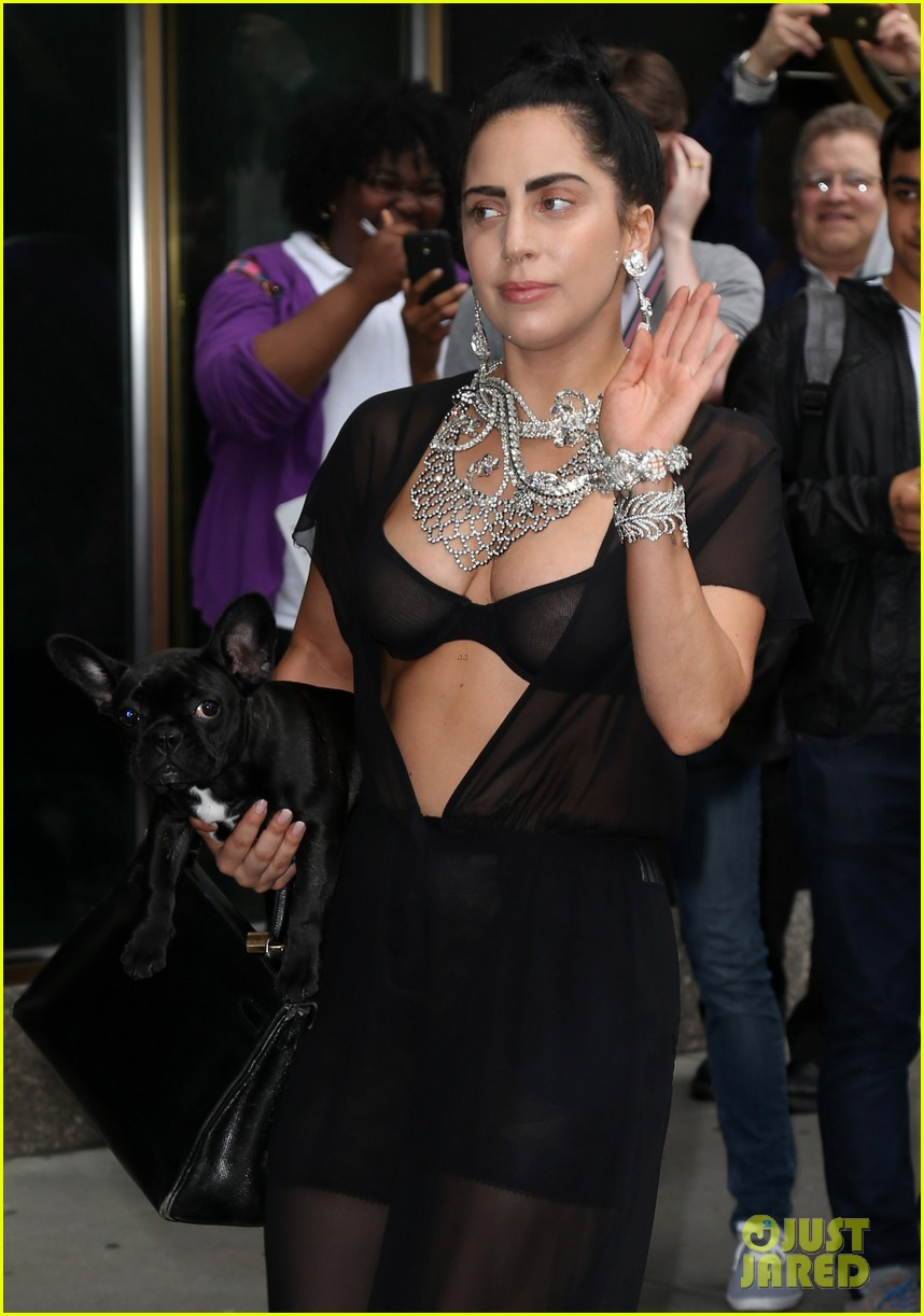 lady gaga goes wigless bares nipples sheer bra 123134255