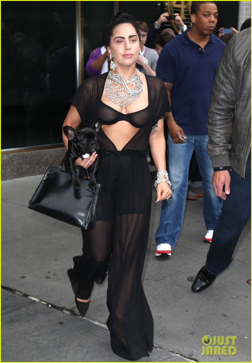 lady gaga goes wigless bares nipples sheer bra 153134258