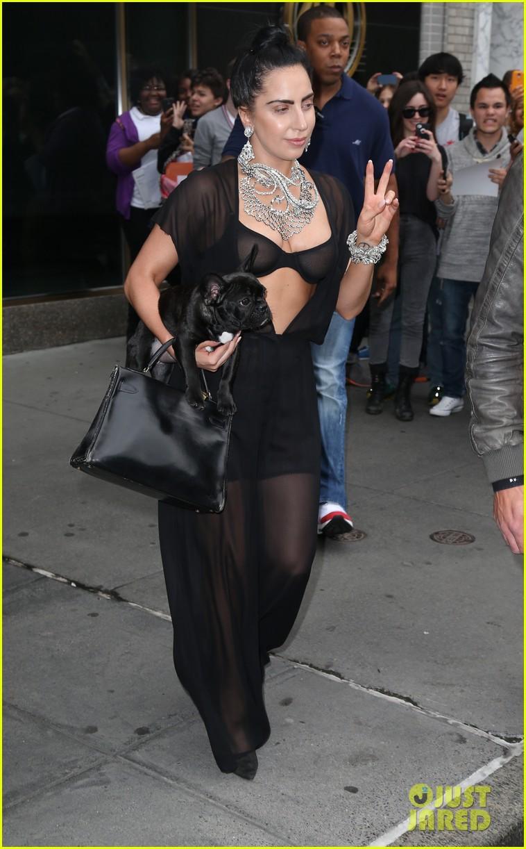 lady gaga goes wigless bares nipples sheer bra 173134260