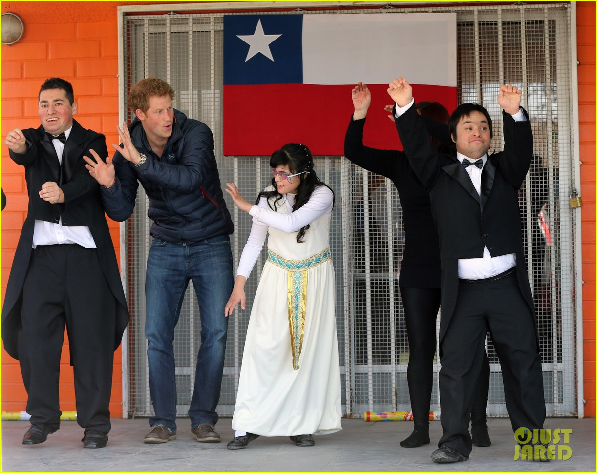 prince harry busts a move children chile visit 13