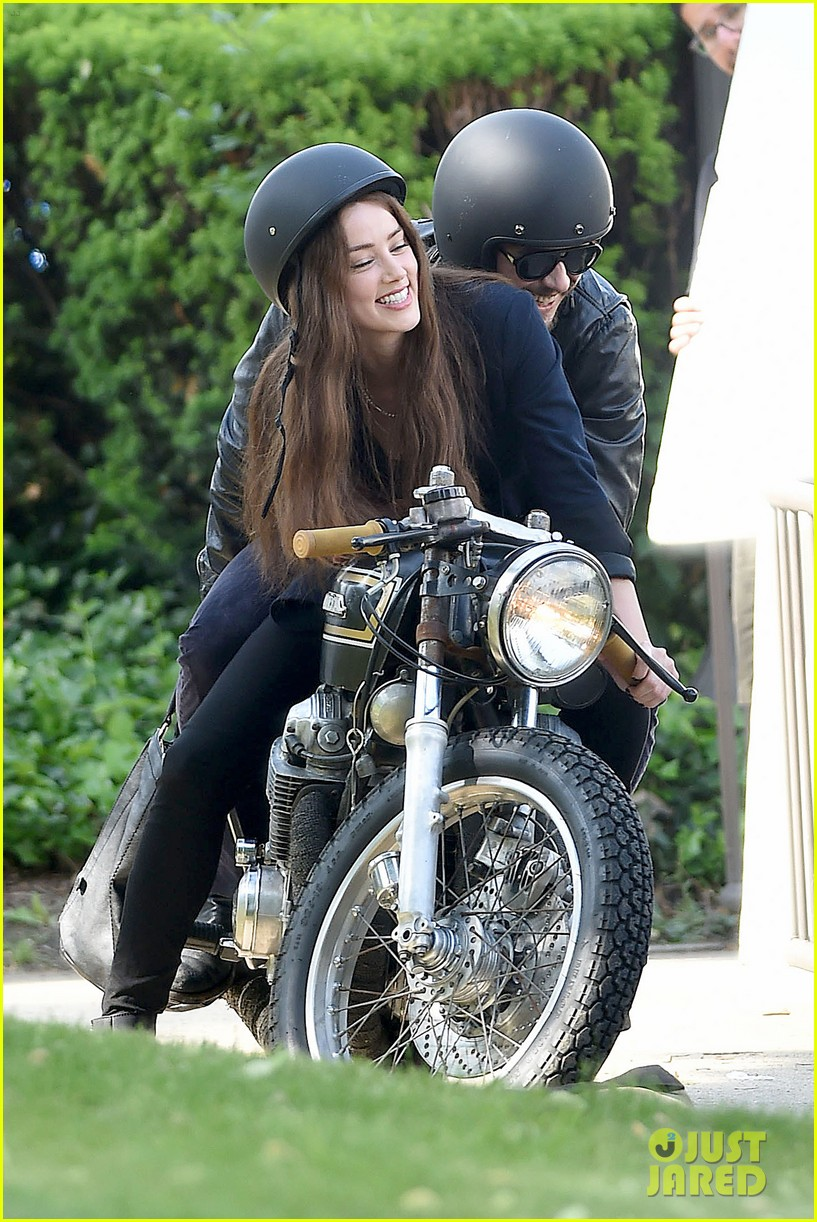 james franco wraps his arms around amber heard for motorcycle ride 163128106