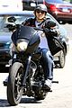 charlie hunnam arrives to sons of anarchy set on motorcycle 09