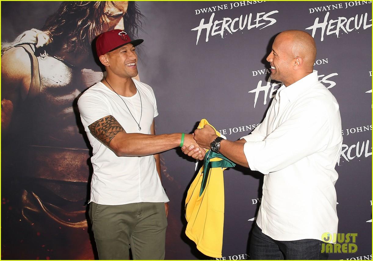 dwyane johnson presented with wallabies jersey at australian hercules screening 073138963