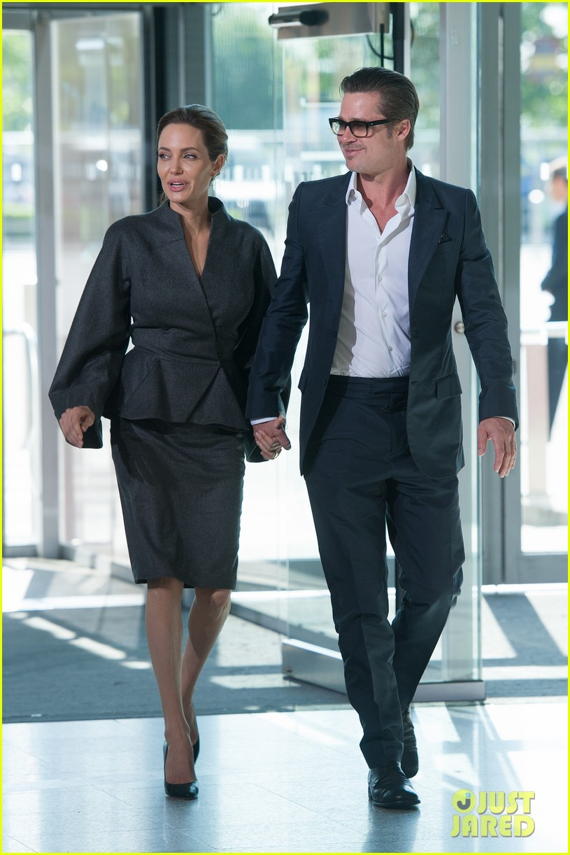 angelina jolie brad pitt keep hand in hand at the global summit end sexual violence 013134579