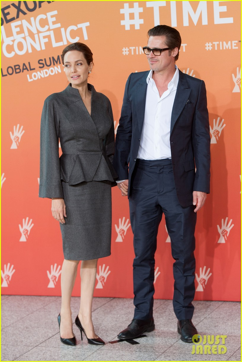 angelina jolie brad pitt keep hand in hand at the global summit end sexual violence 033134581