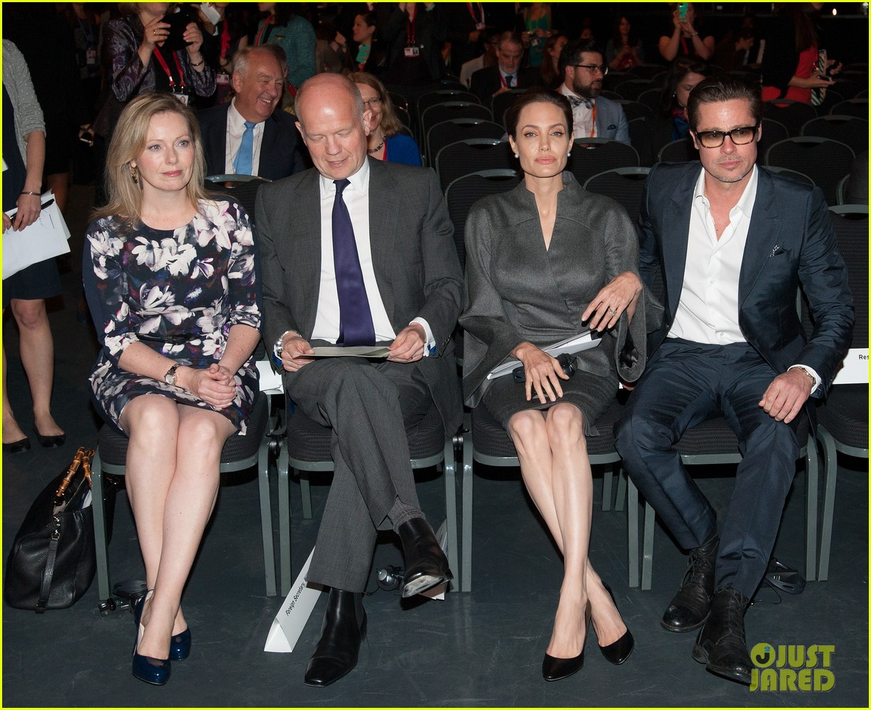 angelina jolie brad pitt keep hand in hand at the global summit end sexual violence 053134583