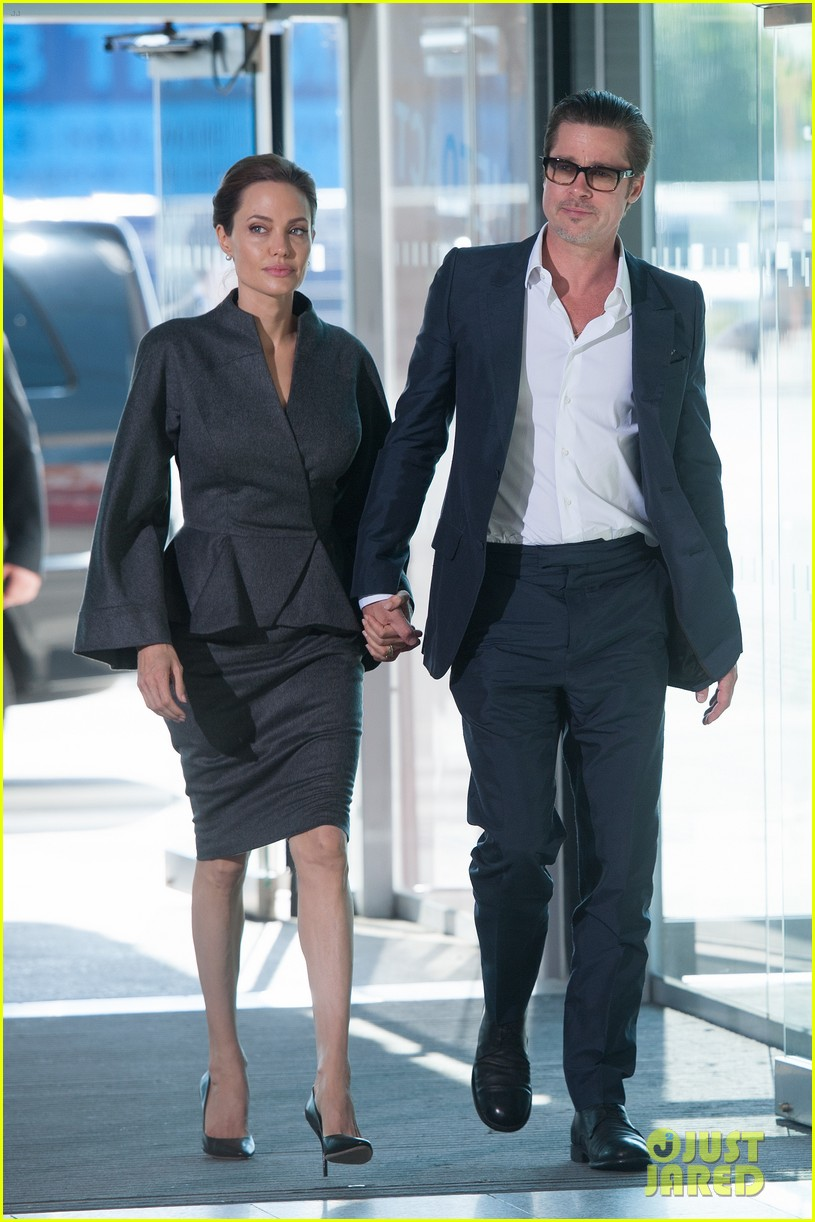 angelina jolie brad pitt keep hand in hand at the global summit end sexual violence 063134584