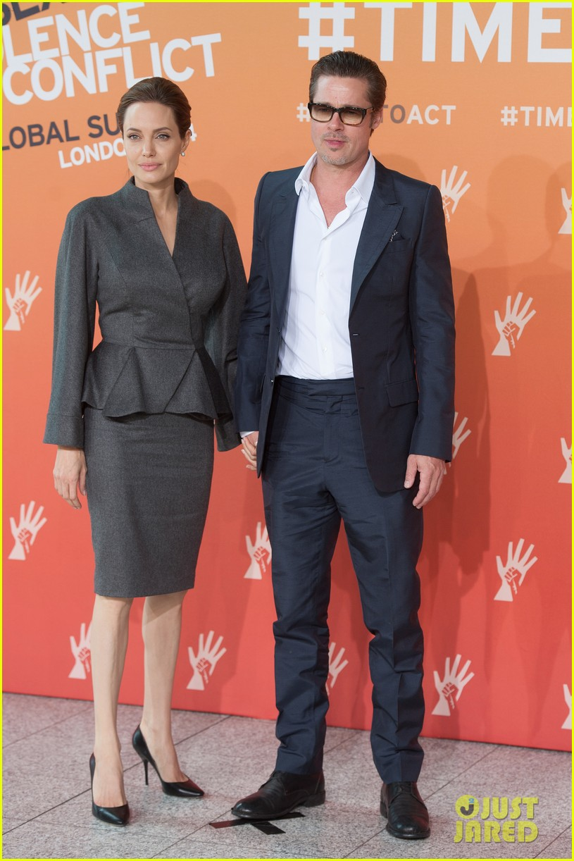 angelina jolie brad pitt keep hand in hand at the global summit end sexual violence 073134585