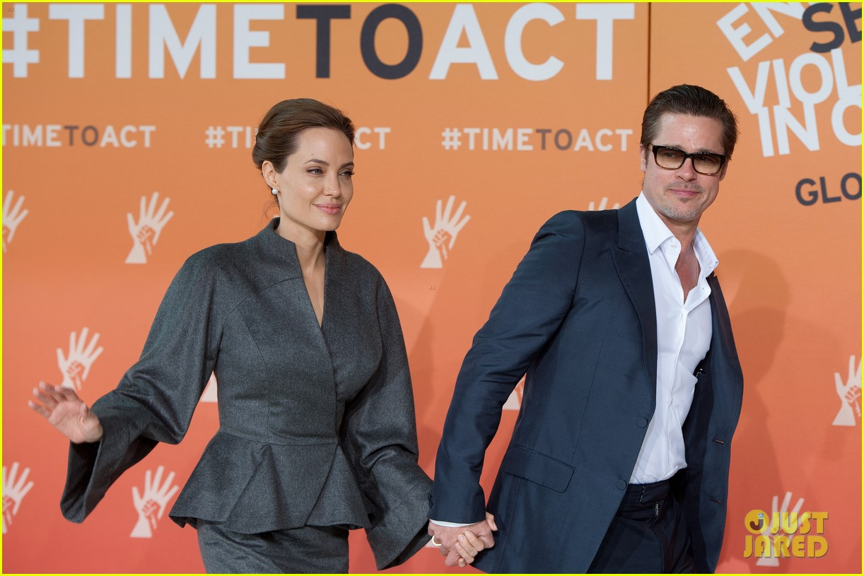 angelina jolie brad pitt keep hand in hand at the global summit end sexual violence 103134588