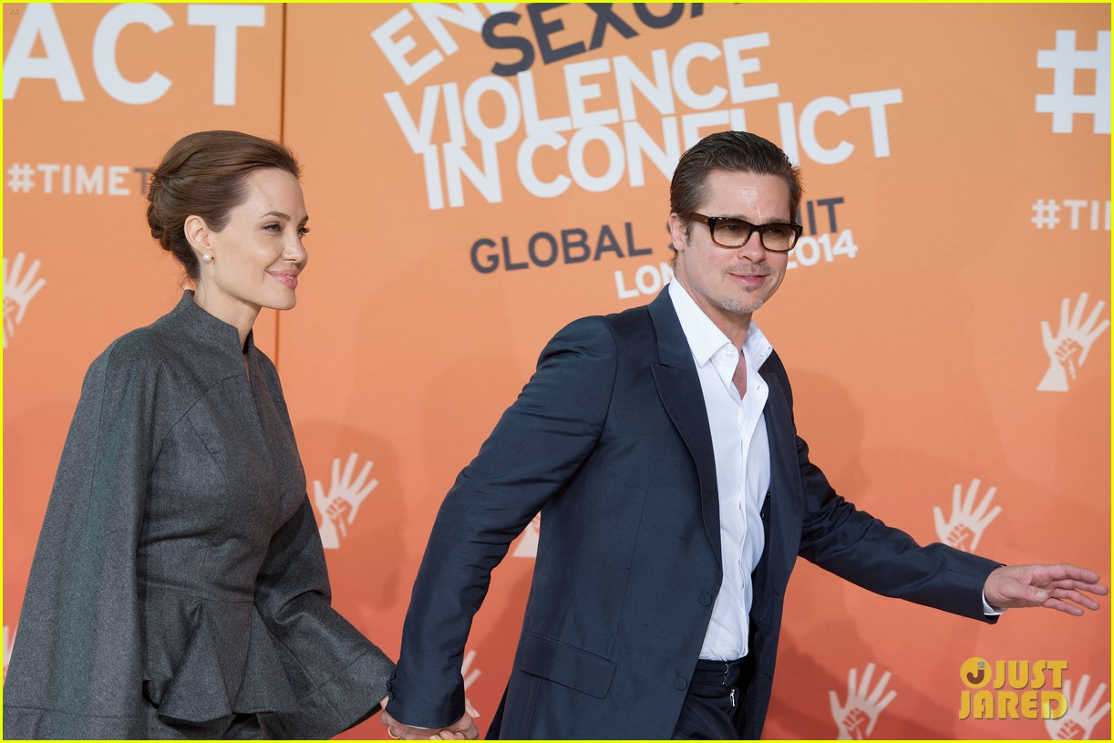 angelina jolie brad pitt keep hand in hand at the global summit end sexual violence 113134589