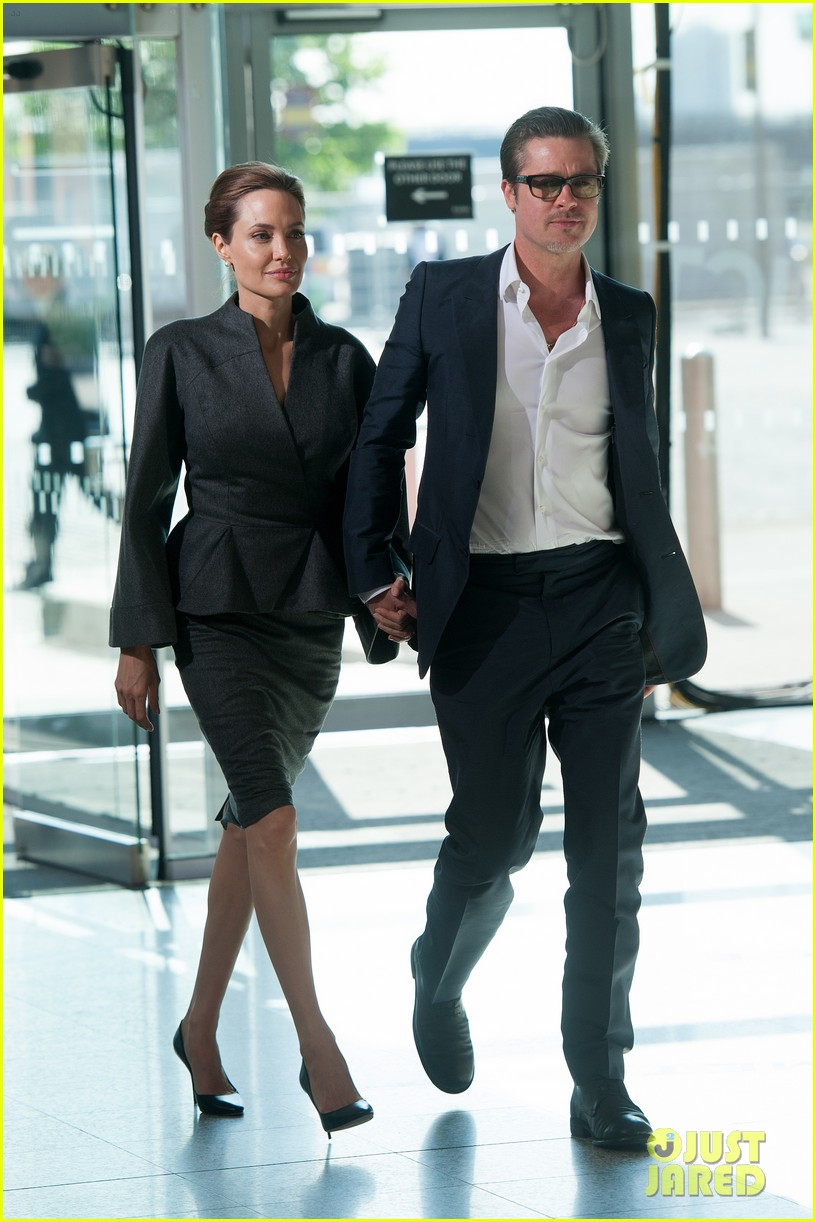 angelina jolie brad pitt keep hand in hand at the global summit end sexual violence 133134591