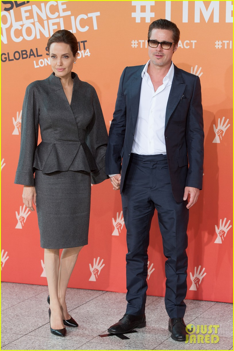 angelina jolie brad pitt keep hand in hand at the global summit end sexual violence 153134593